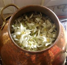 Orangeblossomfarm Greece: Small scale home distilling of essential oils | informative pictorial of hydrosol and essential oil production of various flowers and herbs in a 5-litre copper still