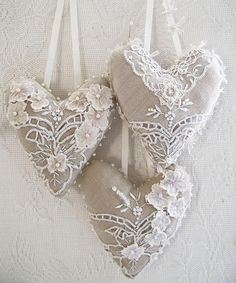 Burlap and lace hearts