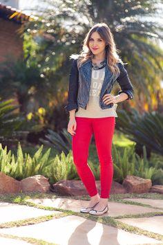 Look da Lu: calça vermelha e jaqueta