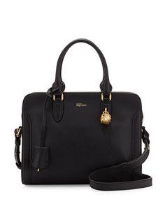 Skull Padlock Small Leather Satchel Bag, Black by Alexander McQueen at Neiman Marcus.