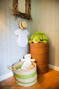 abodelove.blogspot.com #nursery #woodland #birch #stencil #basket #driftwood