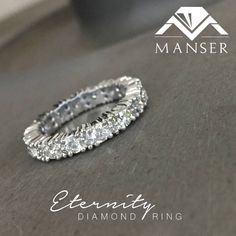 White gold full eternity diamond ring Eternity Ring Diamond, Wedding Bands, White Gold, Wedding Ring Bands, Wedding Band Ring, Wedding Rings, Wedding Band, Halo Rings, Wedding Ring