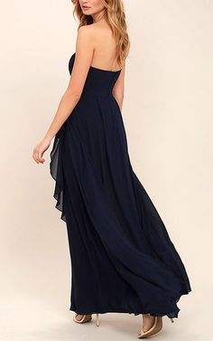 Sweetest Kiss Navy Blue Strapless Maxi Dress via @bestmaxidress