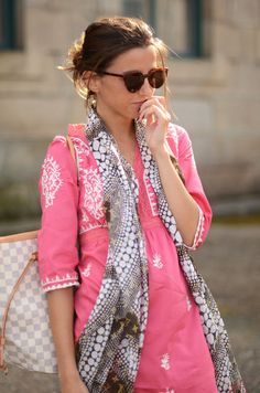 pretty pink and white embroidered casual dress and long scarf...great for a day at the beach