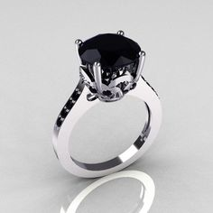 Engagement Rings Made Of White Gold And Black Diamond