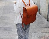 Hand Stitched Large Leather Backpack by ArtemisLeatherware on Etsy