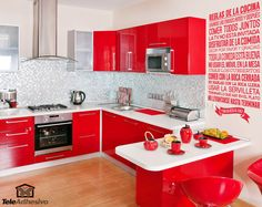 Red kitchen cabinets have some stylish ideas to bring kitchen beautiful and interesting. You can bring it by one of 20 stylish ways to work with red kitchen cabinets. I will tell you the reason why this year will be the year of red kitchen cabinets. Small White Kitchens, Red And White Kitchen, Black Kitchens, Cool Kitchens, Colorful Kitchens, Beige Kitchen, Gloss Kitchen, Beautiful Kitchens, Kitchen Flooring