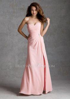 Pink Chiffon Strapless #Sweetheart Floor Length Split A-line #Bridesmaid #Dress $ 406.00 off $169.00