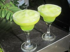FROZEN KEY LIME DAQUIRI -- A delicious and cool blend of lime and melon. -- For 2 Servings:  >4 oz. Rum  4 oz. Midori >2 oz. Lime juice >2 oz. Pineapple juice >1 oz. Simple syrup -- Combine all the ingredients with about 10 ice cubes in a blender and puree until smooth.  Serve in a chilled daiquiri glass.