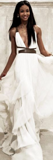 Chanel Iman <3 maxi white dress <3