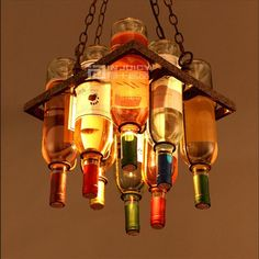 Small Glass Bottles Lamp Chandelier - Free Shipping