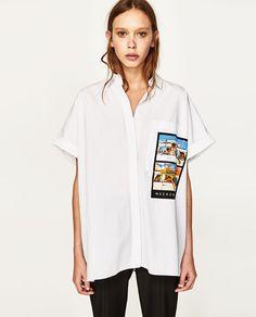 Image 3 of OVERSIZED SHIRT WITH PRINTED POCKET from Zara Perrie Edwards Style, Zara United States, Oversized Shirt, New Outfits, Style Inspiration, V Neck, Pocket, Coat