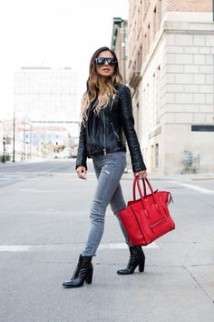 Travel Style. Zara Leather Jacket. Topshop Top. Zara Jeans. Zara Booties. Celine Bag. Nasty Gal Sunglasses.