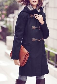 Hooded toggle coat, brownstone & over-sized leather clutch. Perfect fall weekend look.