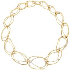 Ippolita Diamond Sprinkled Gold Necklace | From a unique collection of vintage link necklaces at https://www.1stdibs.com/jewelry/necklaces/link-necklaces/