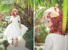 Tea Length Vintage Style Wedding Dress by Dolly Couture  - tangerine tree photography