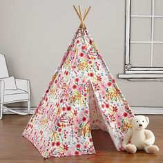 A Teepee & Cushion Set to Call Your Own (Floral)    The Land of Nod