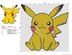 Pikachu Pokémon simple petit et gratuit grille point de croix