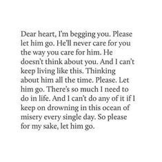 Dear heart of mine, let him go. BB