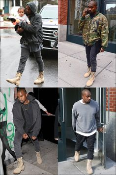 Kanye West Outfits, Kanye West Style, Kanye West Fashion, Military Boots Outfit, Combat Boot Outfits, Mode Masculine, Nike Sfb Boots, Men Street Outfit, Mode Hip Hop
