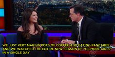 """Stephen Colbert recently had Lauren Graham on his show, and guess what? He's a Gilmore Girls fan, too. 