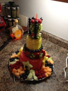 Beautiful fresh fruit birthday cake