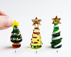 Fairy Garden Miniatures, Fairy House, Handmade Collectible Lampwork Glass Miniature Christmas Trees, Christmas Miniatures, Miniature Trees,