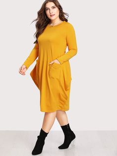 High quality Plus size Dual Pocket Cocoon Dress. Introduce you to the highest quality premium Dress for women's. Trendy Dresses, Cute Dresses, Dresses With Sleeves, Outfits Plus Size, Plus Size Dresses, Casual Office Attire, Cocoon Dress, Sunflower Dress, Bikini