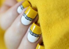 50 Stunning Manicure Ideas For Short Nails With Gel Polish That Are More Exciting Nail Art Designs, Manicure Nail Designs, Manicure Y Pedicure, Manicure Ideas, Aztec Nail Art, Aztec Nails, Chevron Nails, Cute Short Nails, Trendy Nails