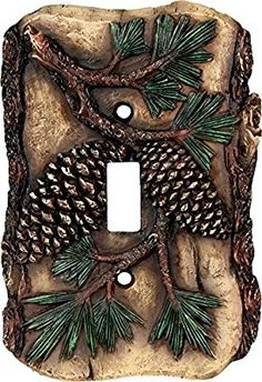 Rustic Pine Cone Single Light Switch Cover
