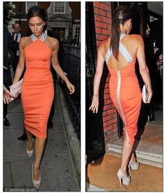 VB is looking divine wearing a 59 Cross Back Fitted Dress SS/12 from her own range ♥ Absolutely love the back of this dress ;)