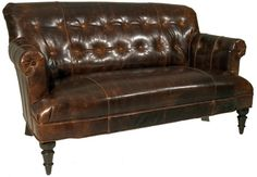 Southern Furniture Aged Leather Sofa