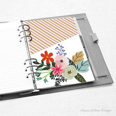 A5 Planner pocket, folder, floral and striped, pink green blue, printable for your filofax, Kikki K or other ring binder planner