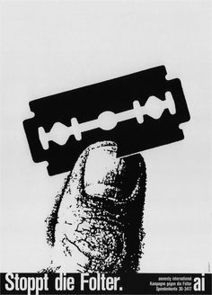Stop Torture - Poster by Stephan Bundi for Amnesty International in Switzerland, 1985