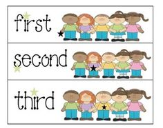 Ordinal Number Cards ~ 4 pages. Help teach ordinal numbers with these cute kid cards. Ordinal Numbers, Numbers Preschool, Math Numbers, Preschool Math, Kindergarten Math, Fun Math, Math Games, Teaching Math, Math Activities