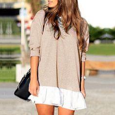 Stylish Ladies Women O Neck Long Sleeve Chiffon Hem Patchwork Dress
