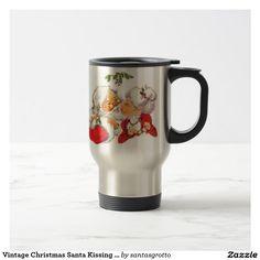 Vintage Christmas Santa Kissing Mrs Claus