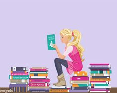 This reading PowerPoint template has stacks of books and a fashion girl reading one of these books