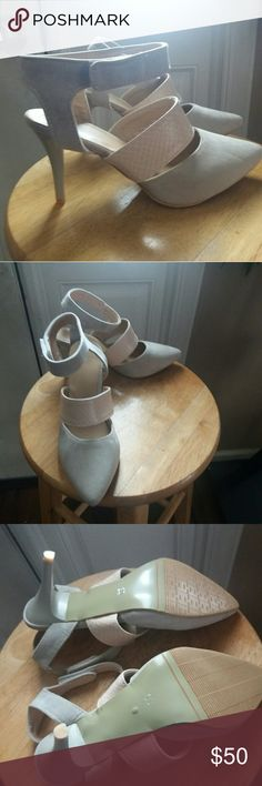 """NWT Beige strapped heels size 39 I absolutely love these heels! Unfortunately, I need a larger size.  They are a size 39 but is small feels like a 38/7.  Shoe specs: Faux suede and leather. Colors beige and cream. Size 39.  (Approx)Measurements: 15cm width , 24cm length   Velcro ankle strap 3"""" heel approx. Pointed toe Has non-skid sole **THESE SHOES DID NOT COME IN A BOX Shoes"""