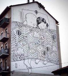 Wall mural in Turin, Italy by Millo | summer street art, urban art, graffiti art