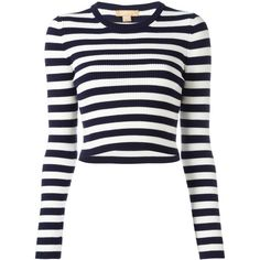 Michael Kors striped jumper ($374) ❤ liked on Polyvore featuring tops, sweaters, blue, striped top, stripe top, michael kors, white top and blue sweater