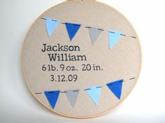 Embroidery Hoop Birth Announcement by FarmerGirlMercantile on Etsy, $30.00