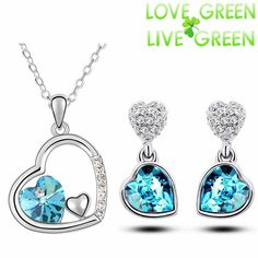 Free Shipping top quality girl women accessories bridal 18K white Gold Plated Crystal double heart Necklace Earrings jewelry Set