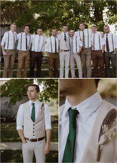 Khaki groomsmen, mismatched groomsmen, groomsmen attire suspenders, rustic groomsmen attire, bridesmaids and Groomsmen Attire Suspenders, Mismatched Groomsmen, Rustic Wedding Groomsmen, Groom And Groomsmen Attire, Groom Outfit, Bridesmaids And Groomsmen, Wedding Men, Wedding Suits, Wedding Attire