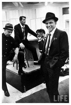 """Frank Sinatra, Sammy Davis Jr., Dean Martin & unident. man during recording session for movie """"Come Blow Your Horn."""""""