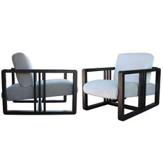 Roche Bobois Frank Lloyd Wright Style Pair of Adjustable Lounge Chairs | From a unique collection of antique and modern lounge chairs at https://www.1stdibs.com/furniture/seating/lounge-chairs/