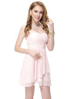 Sweetheart Short/Mini Pink Chiffon A-Line Bridesmaid Dress $88.99