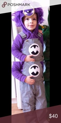 Purple Minion Halloween Costume Used last year for my, then, 2.5 year old.              Size 2T. Comes with Overalls and sweatshirt with eye and wig sewed on. Some scuffs on knees of overalls.  Such a cute handmade costume!  Will ship immediately! Costumes Halloween