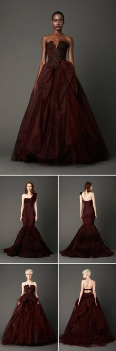 wow. vera wang spring 2013, Oxblood color wedding dress