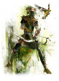There are 8 professions in Guild Wars 2.  The one pictured is the Ranger. The ranger is the master of the bow... and the greatsword??? It's true, the ranger is a jack of all trades you could say. They are deadly at range with conditions and explosions and traps. And just as surprising at melee with dagger and sword to cause bleeding and stuns and knock-backs. No matter the battlefield you happen to meet the ranger on, they are prepared to match up no matter what the challenge.
